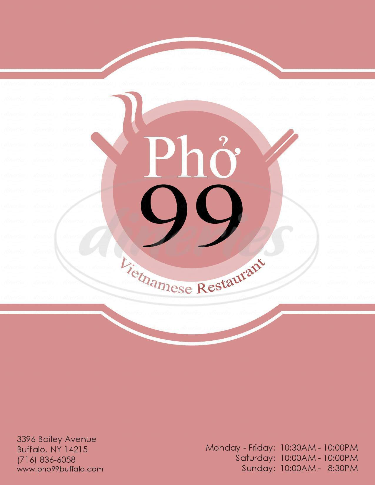 menu for Pho 99 Fast Food