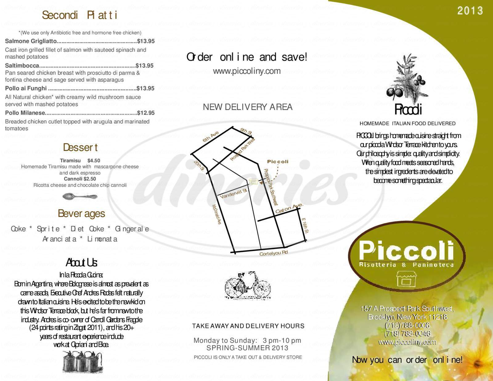 menu for Piccoli