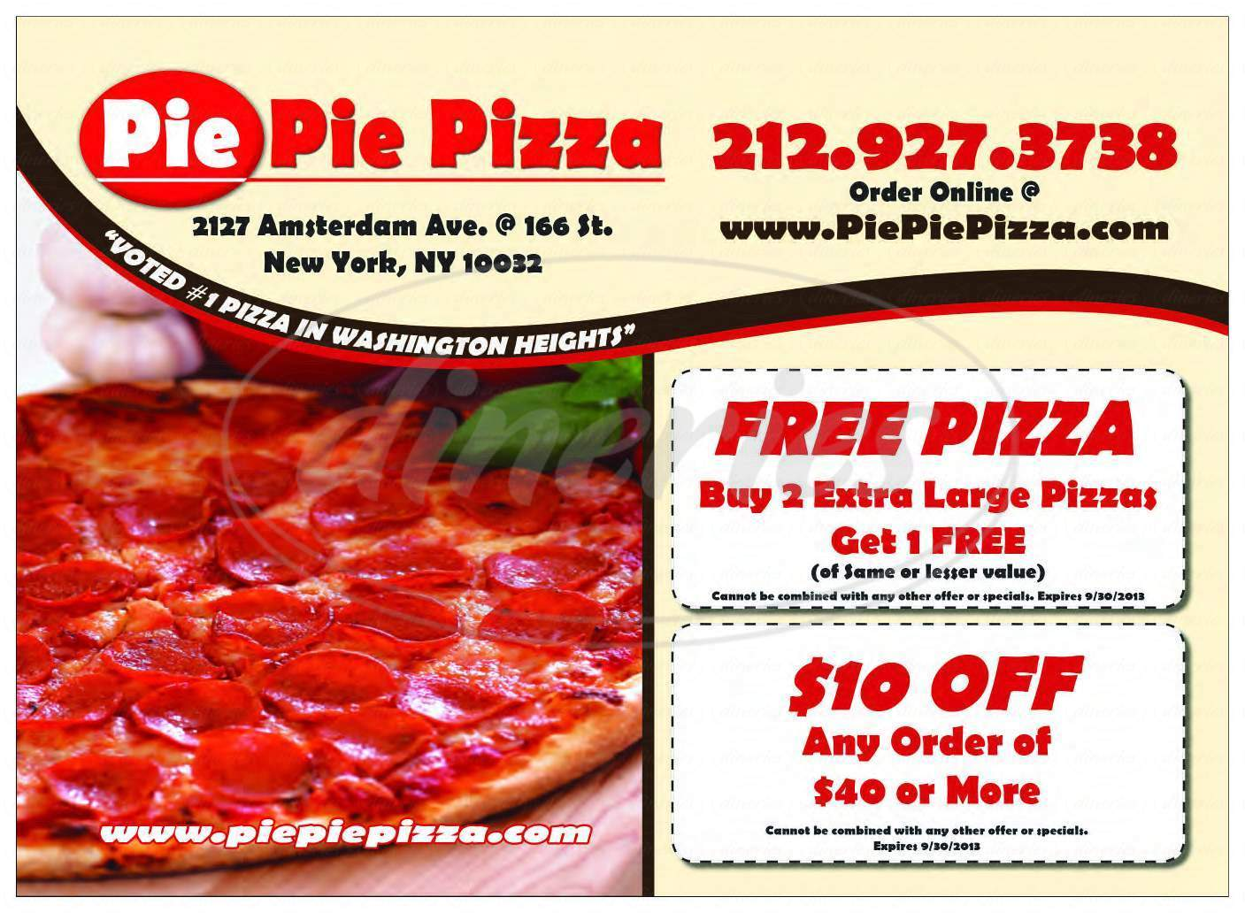 menu for Pie Pie Pizza