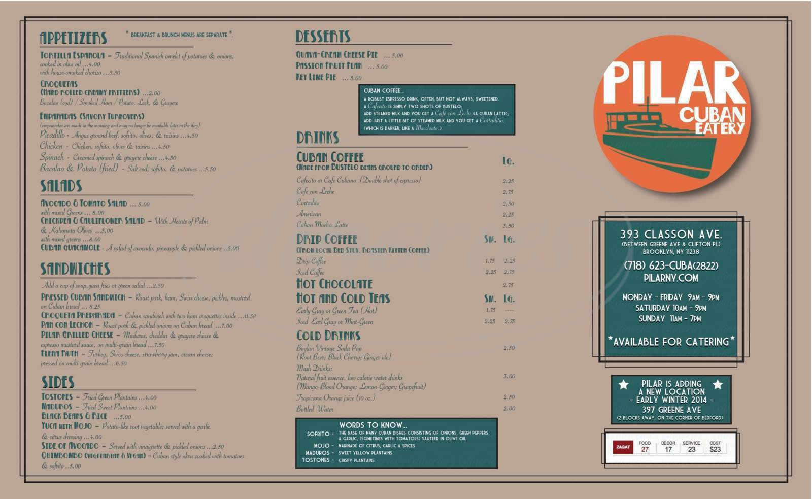 menu for Pilar Cuban Eatery