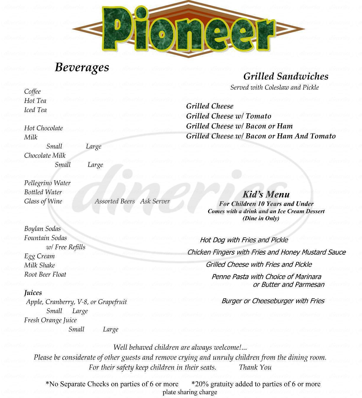 menu for Pioneer Restaurant