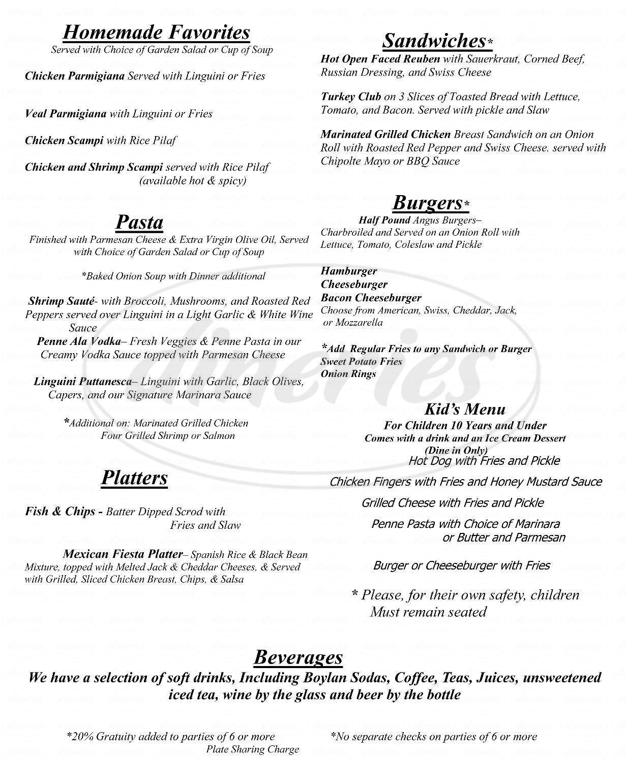 menu for Pioneer Restaurant