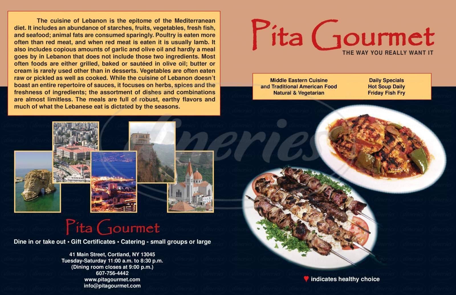 menu for Pita Gourmet