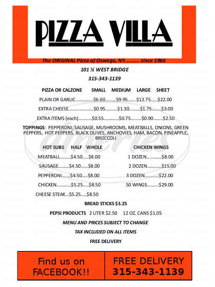 menu for Pizza Villa