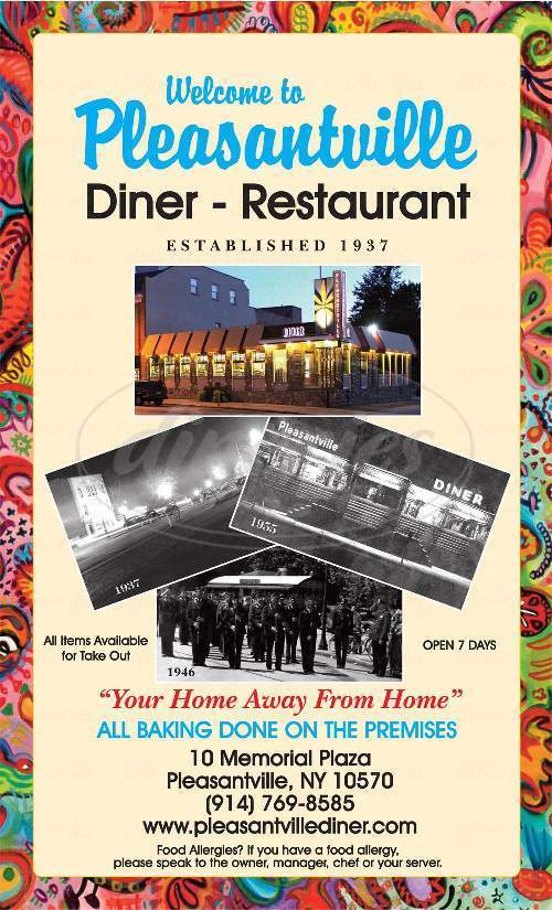 menu for Pleasantville Diner