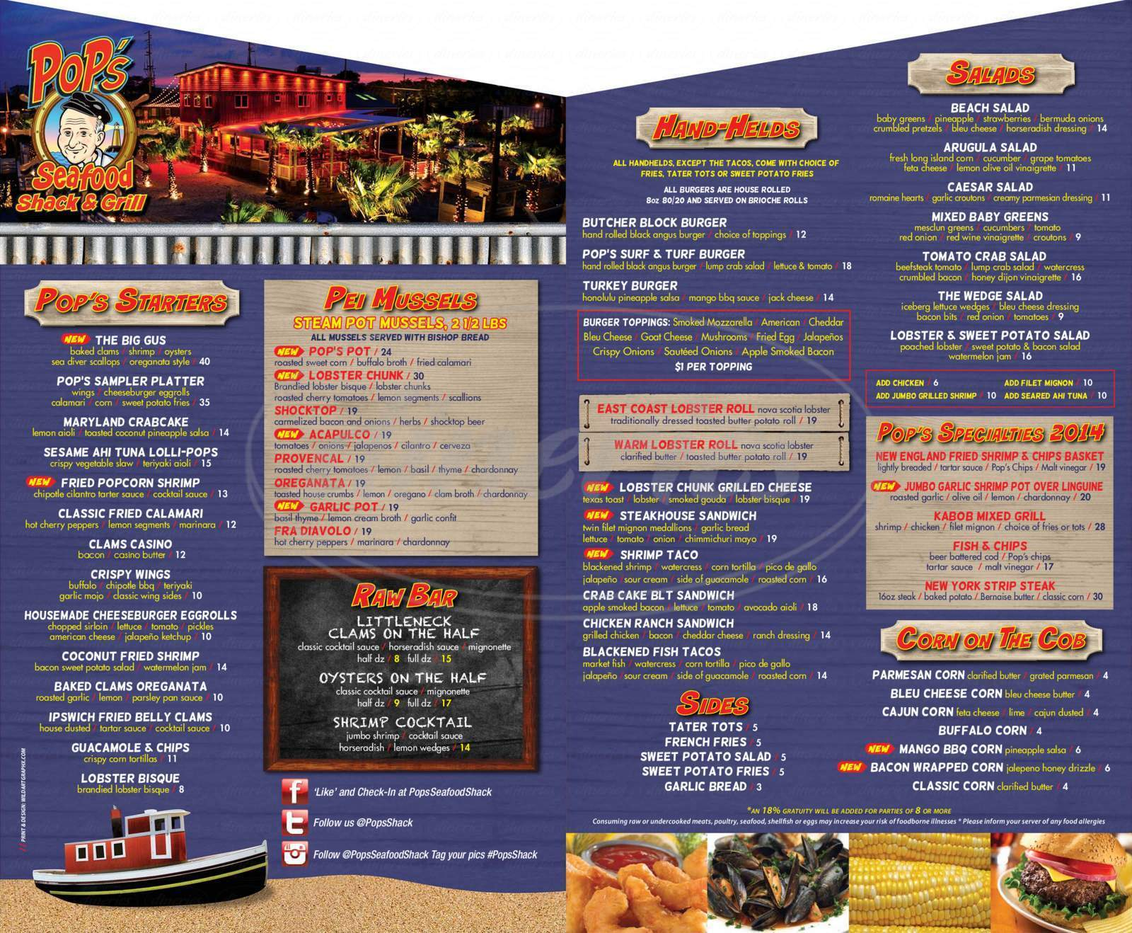 menu for Pop's Seafood Shack & Grill