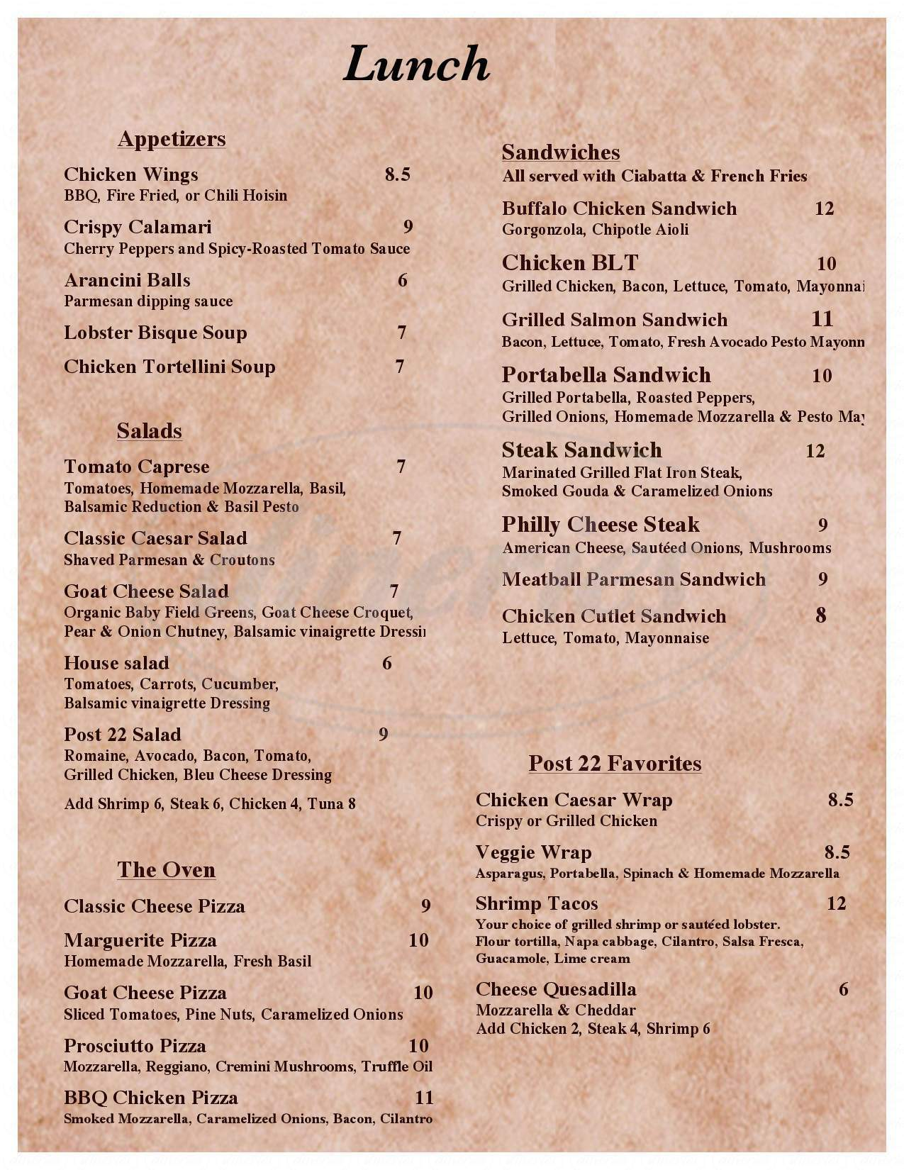 menu for Post 22
