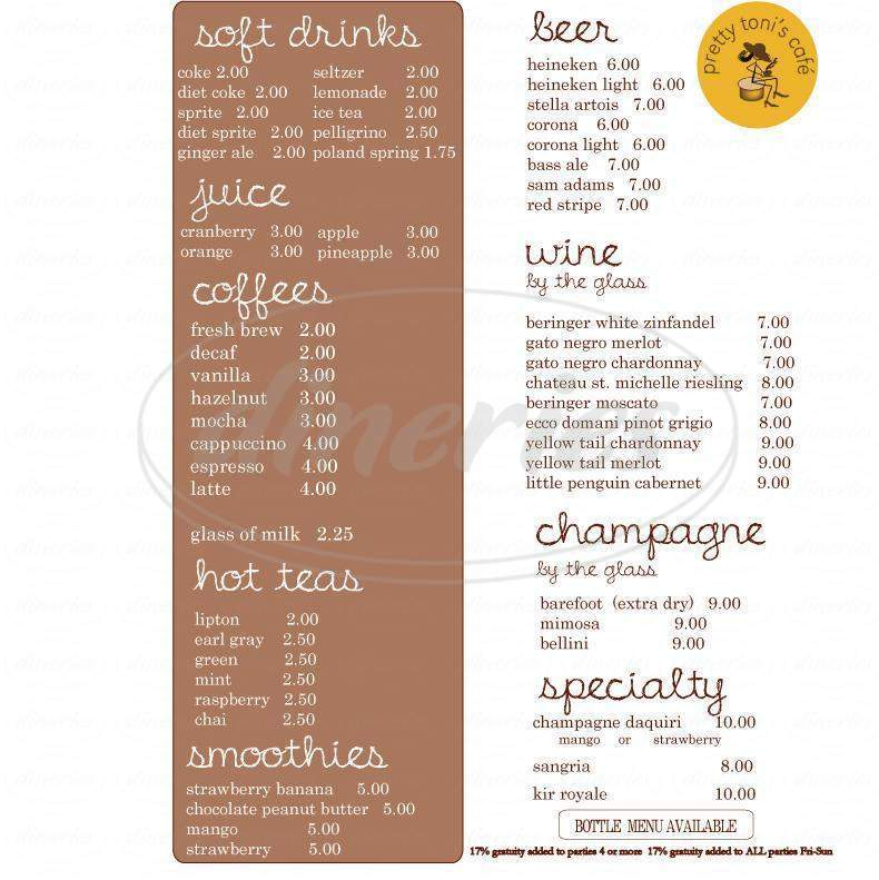 menu for Pretty Toni's Cafe