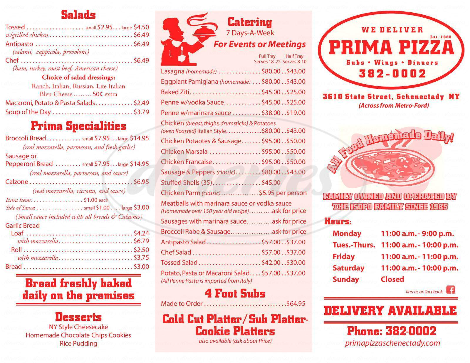 menu for Prima Pizzeria