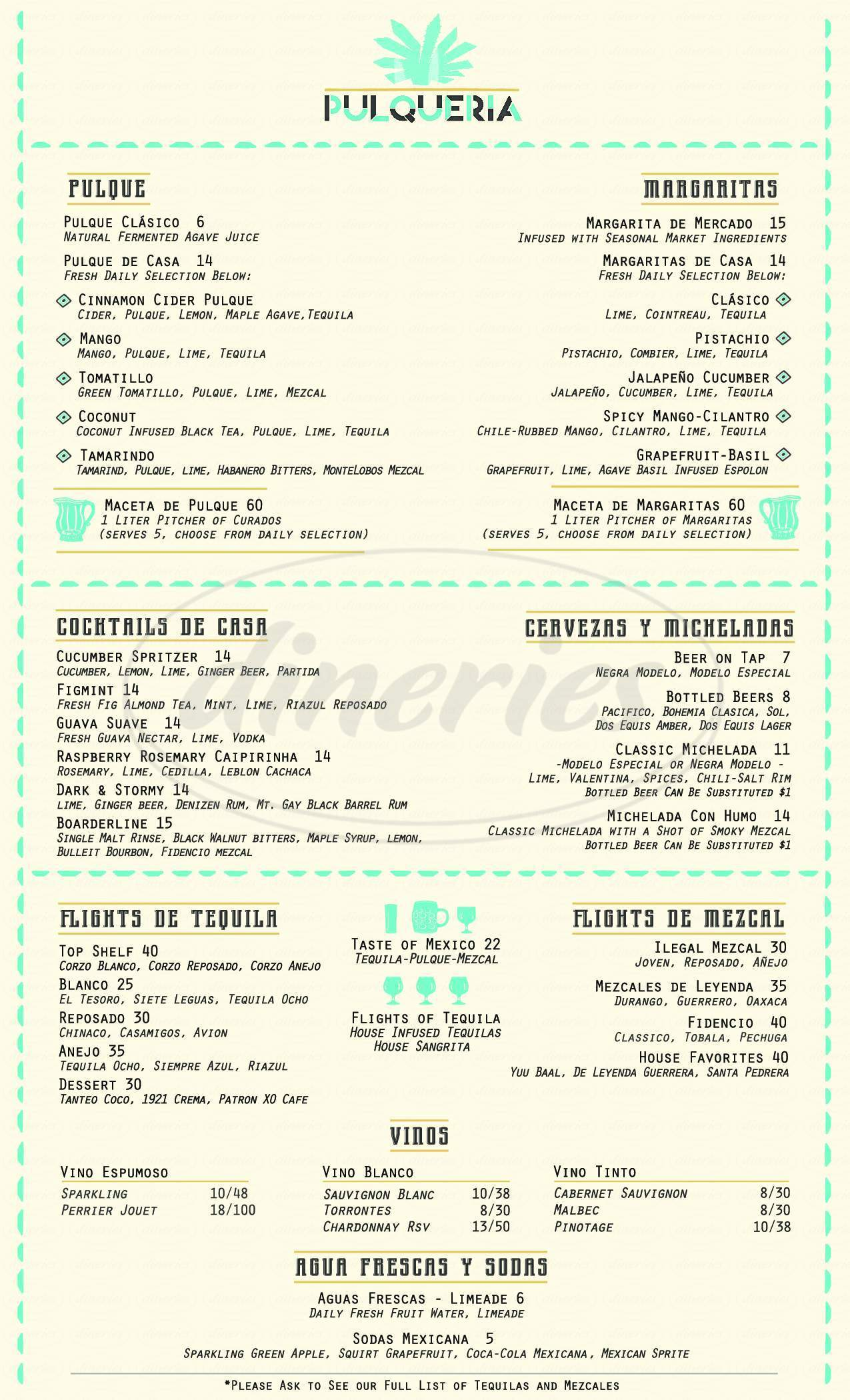 menu for Pulqueria