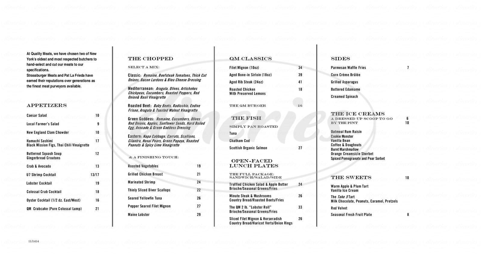 menu for Quality Meats