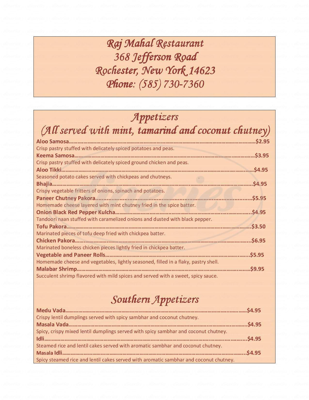 menu for Raj Mahal Indian Restaurant