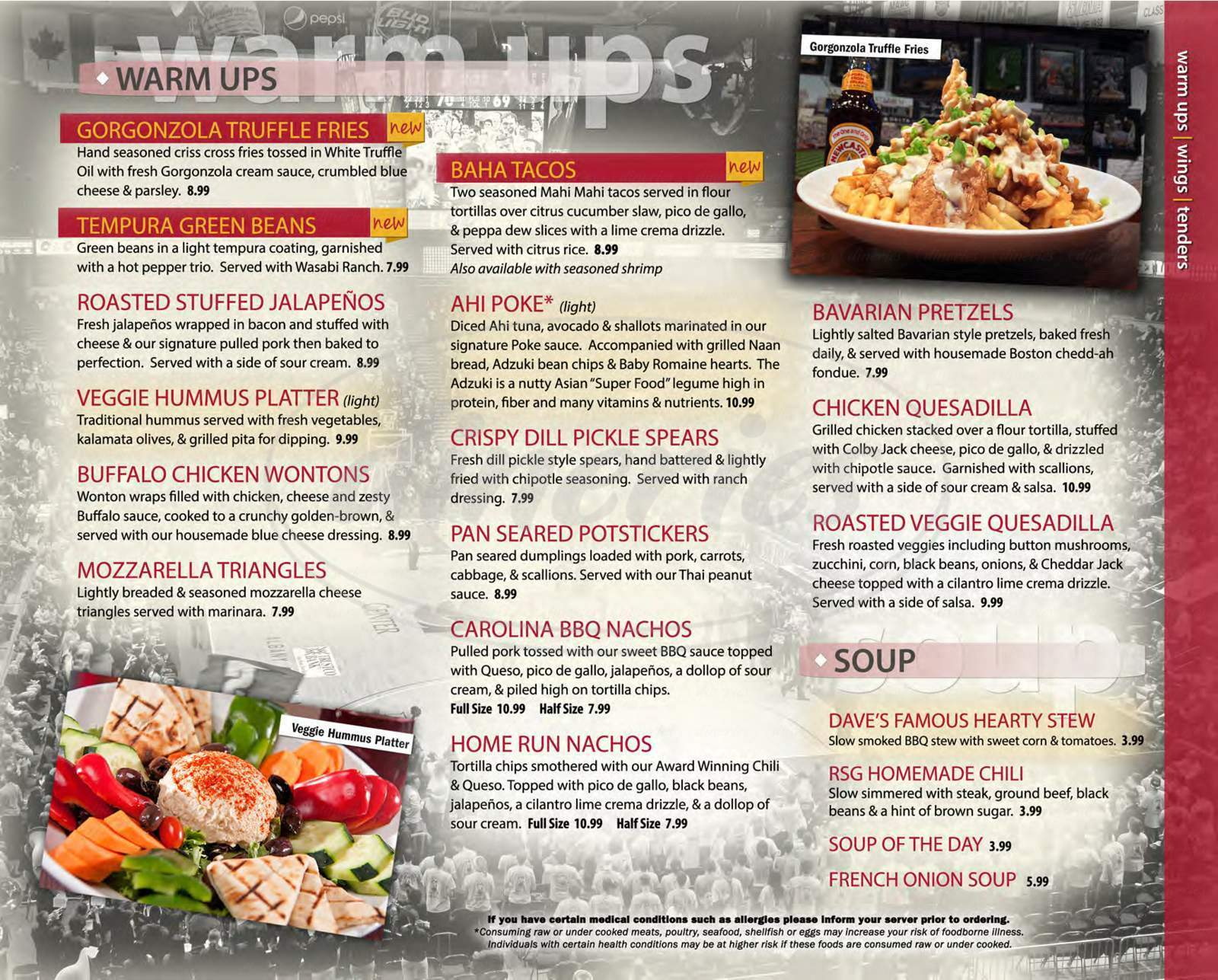menu for Recovery Sports Grill