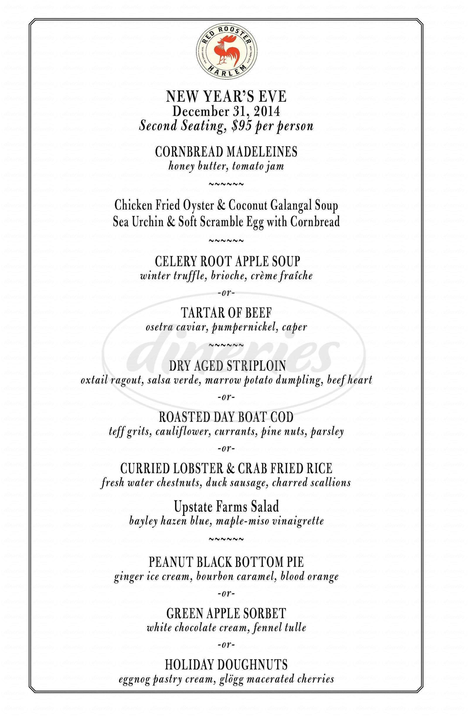 menu for Red Rooster
