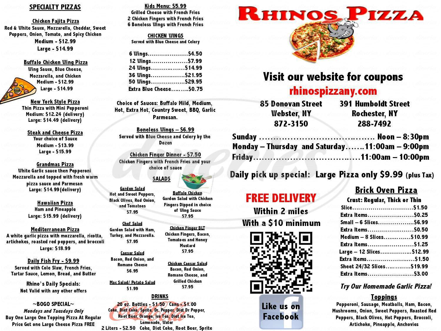 menu for Rhino's Pizzeria and Deli