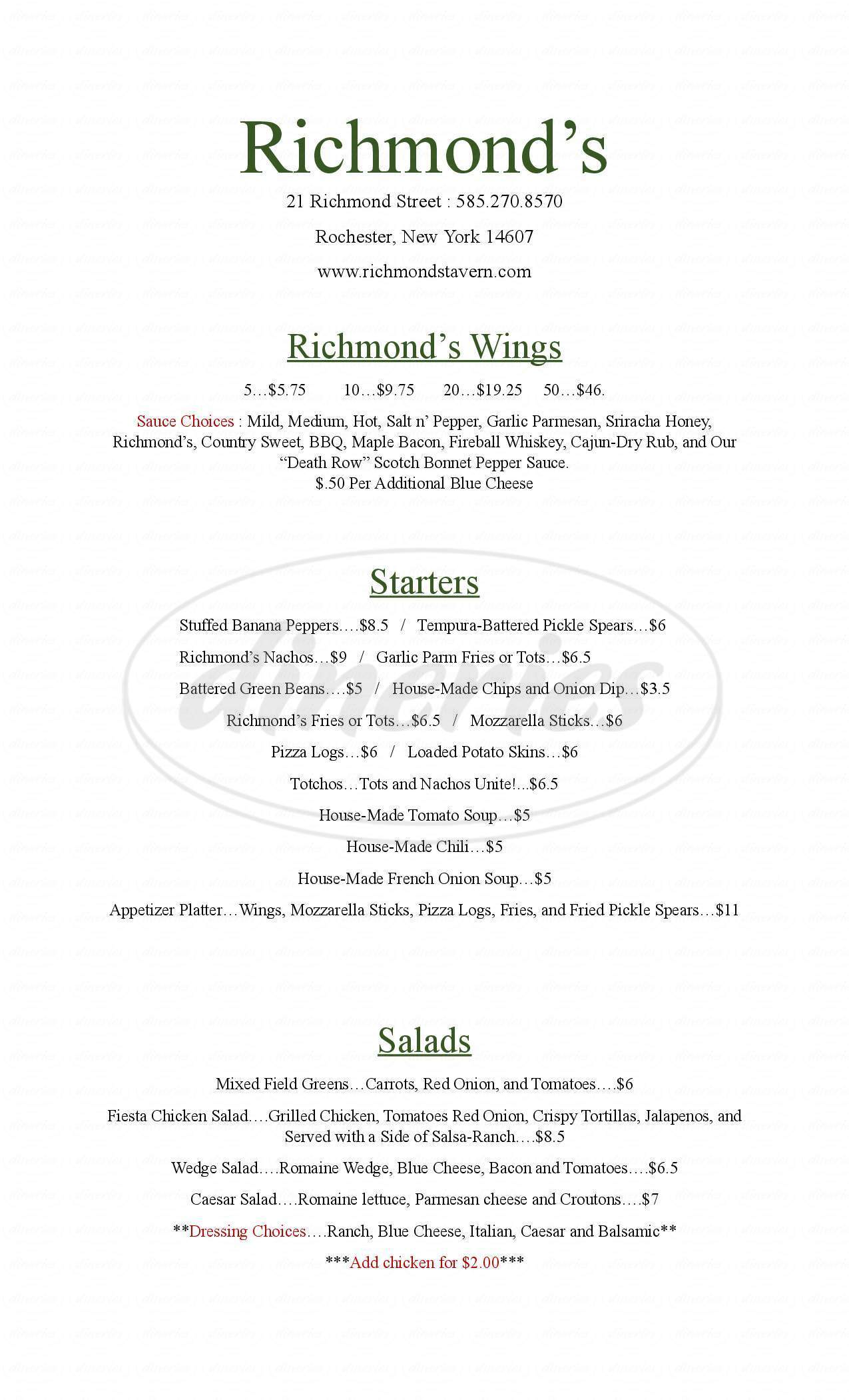 menu for Richmond's
