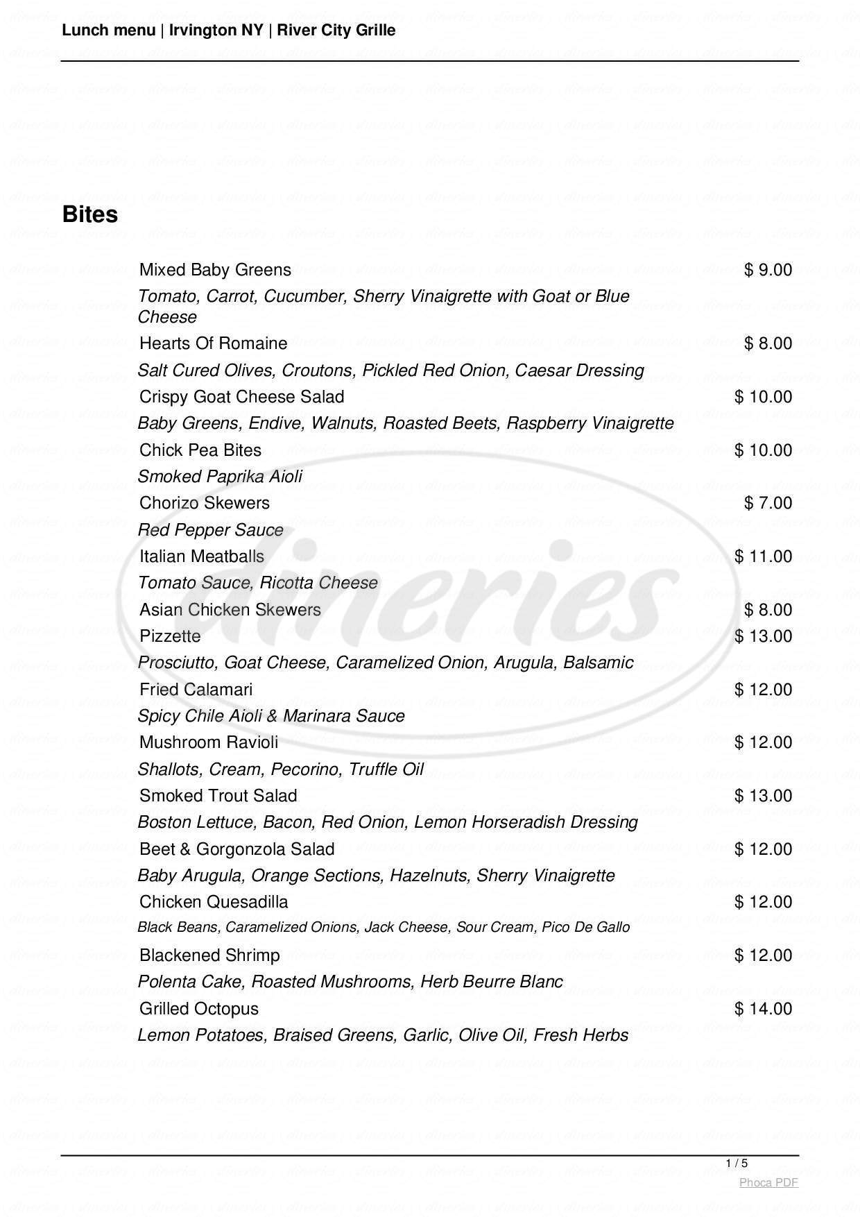 menu for River City Grille