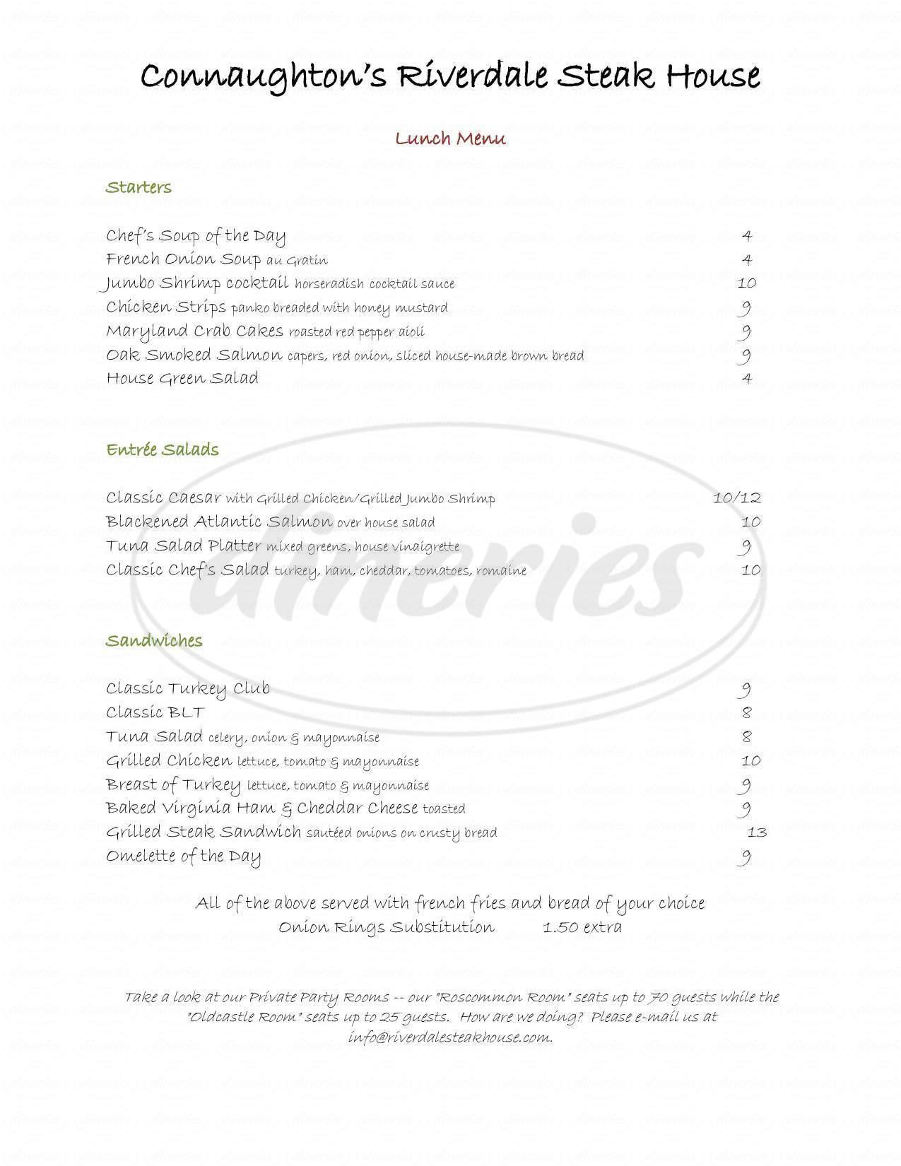 menu for Riverdale Steak House
