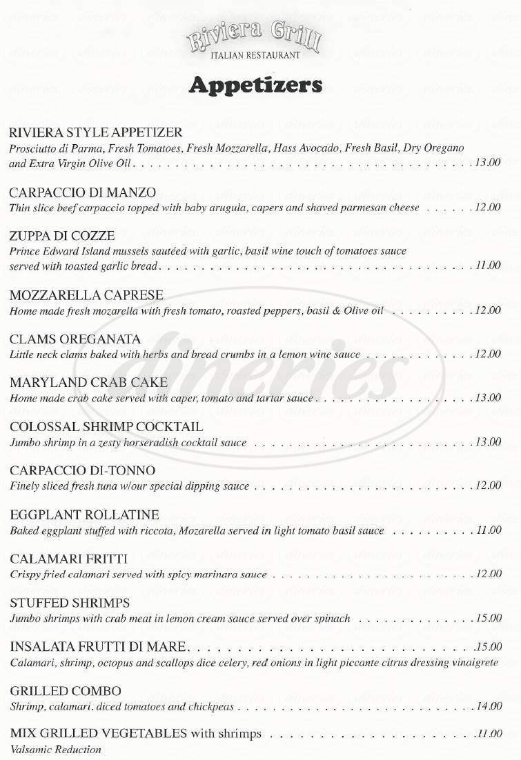 menu for Riviera Grill