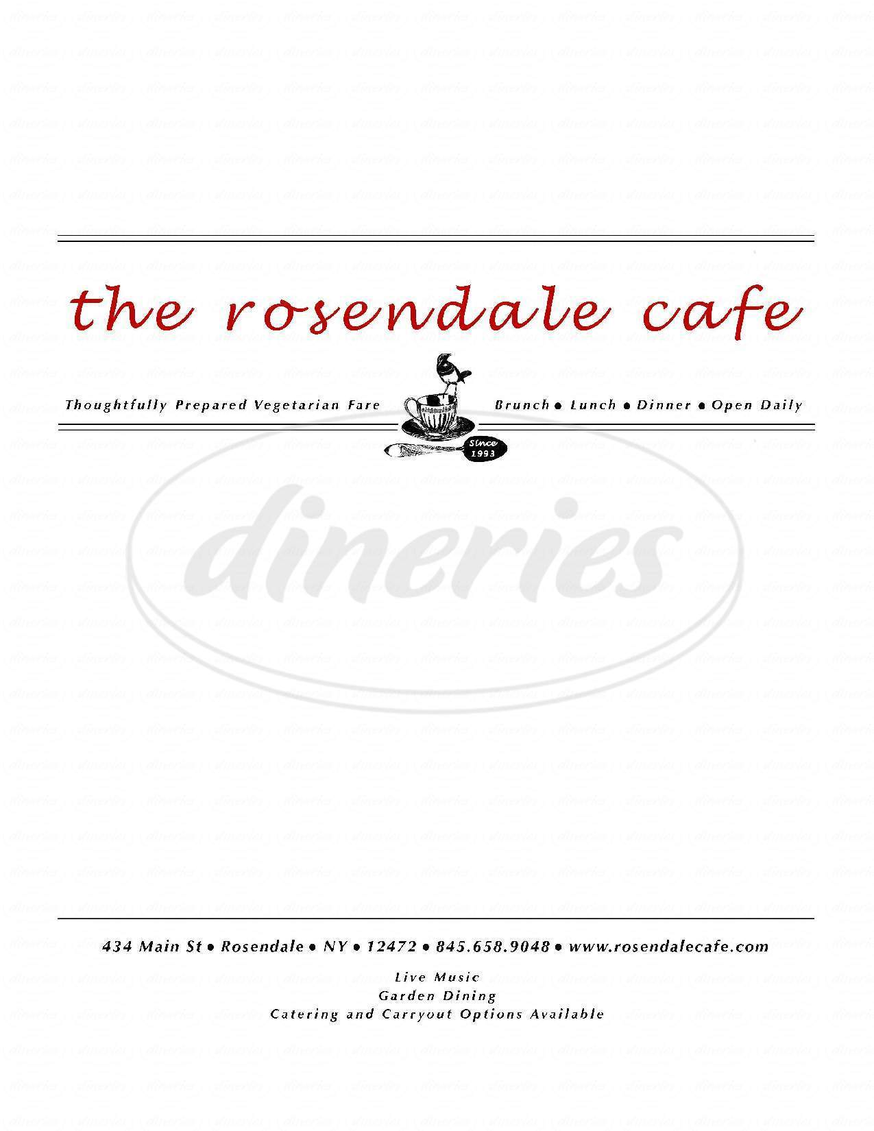 menu for The Rosendale Cafe
