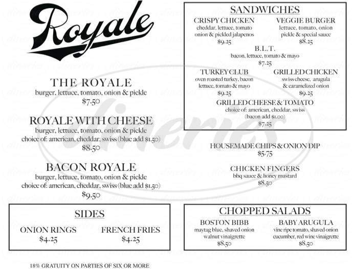 menu for Royale