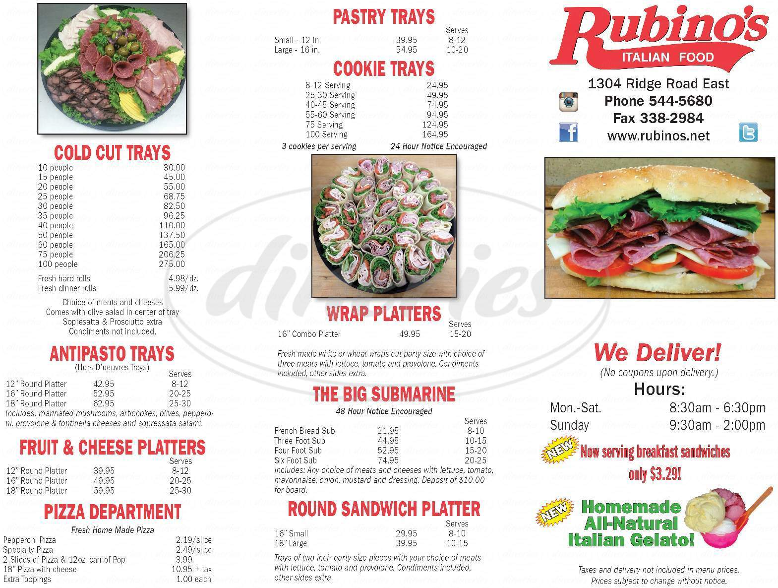 menu for Rubino's Imported Italian Foods