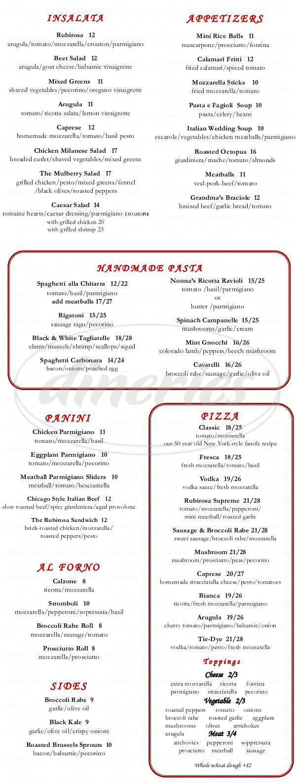 menu for Rubirosa