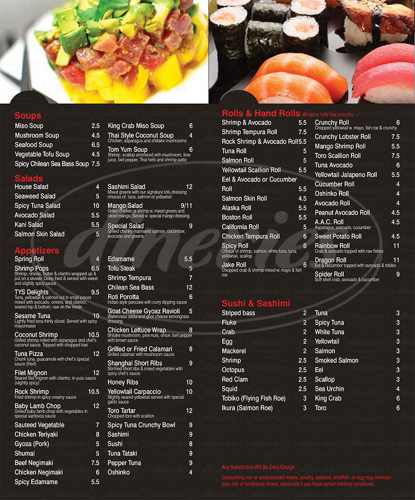 menu for Ruby Sushi