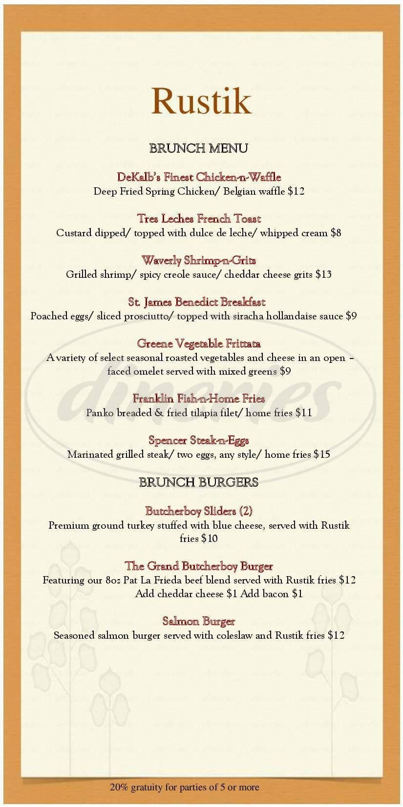 menu for Rustik Tavern