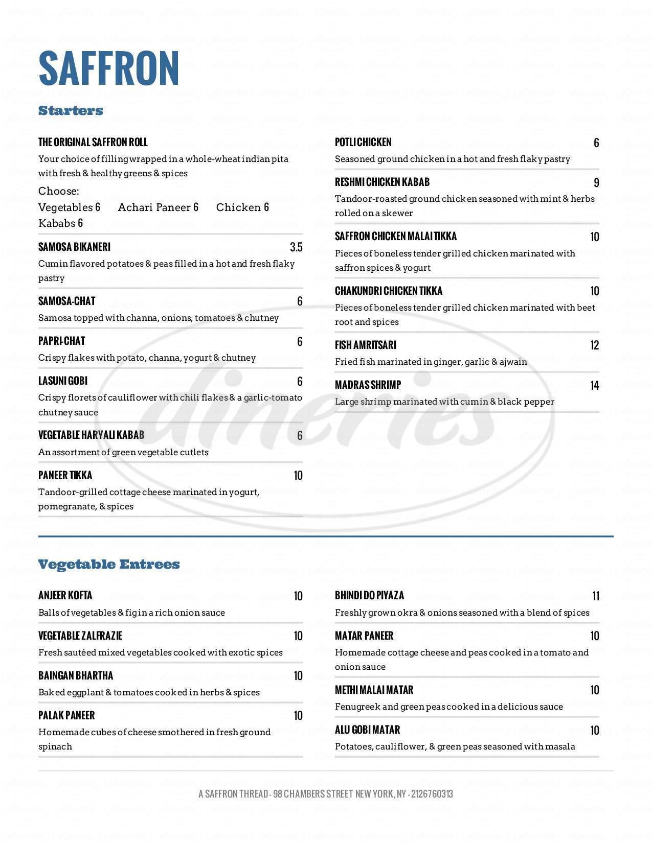 menu for Saffron Indian Cuisine