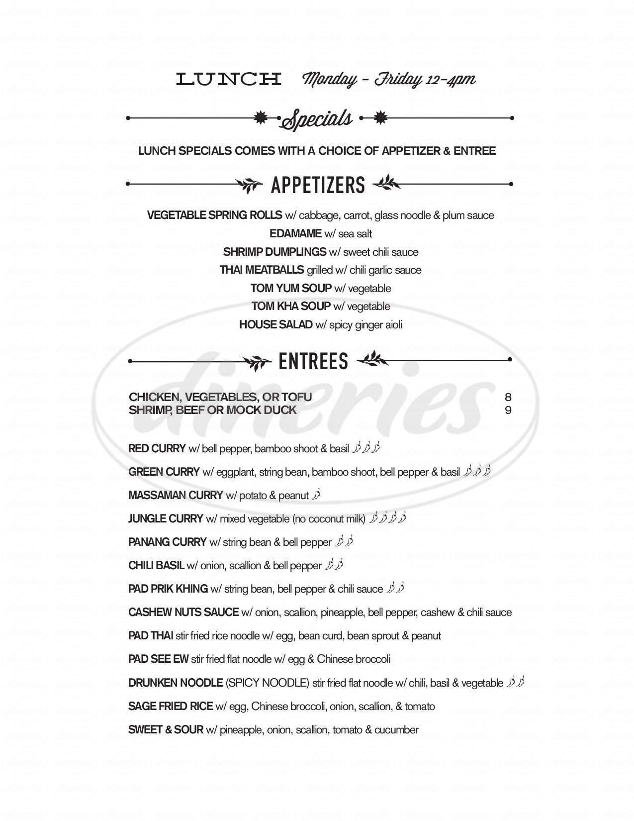 menu for Sage