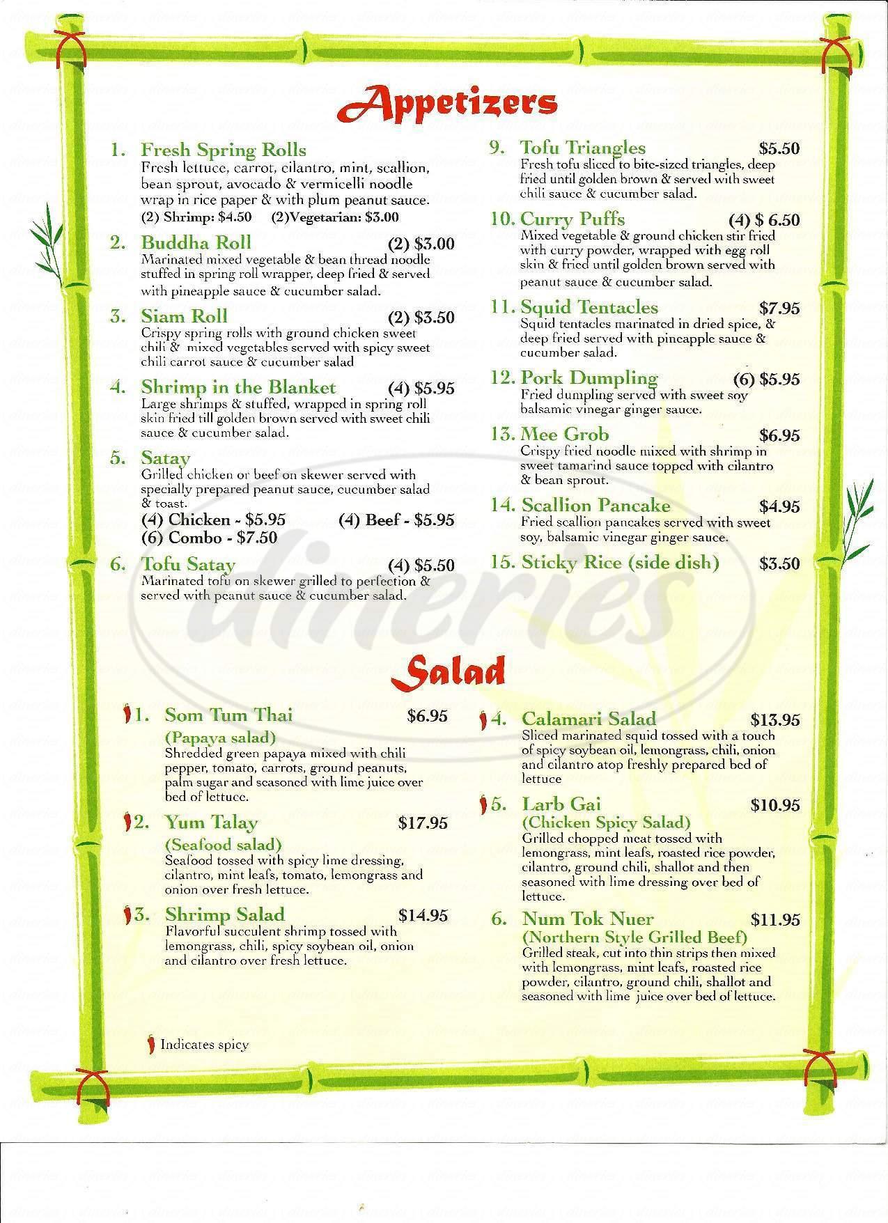 menu for Sak's Thai Cuisine
