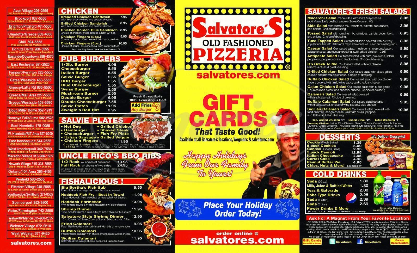 menu for Salvatore's Old Fashioned Pizzeria