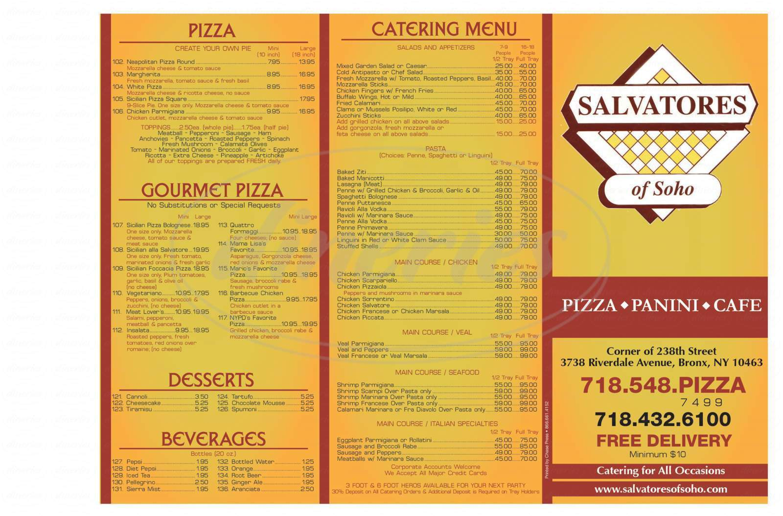 menu for Salvatores of Soho
