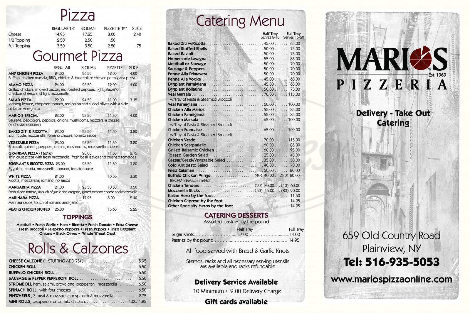 menu for Mario's Pizzeria