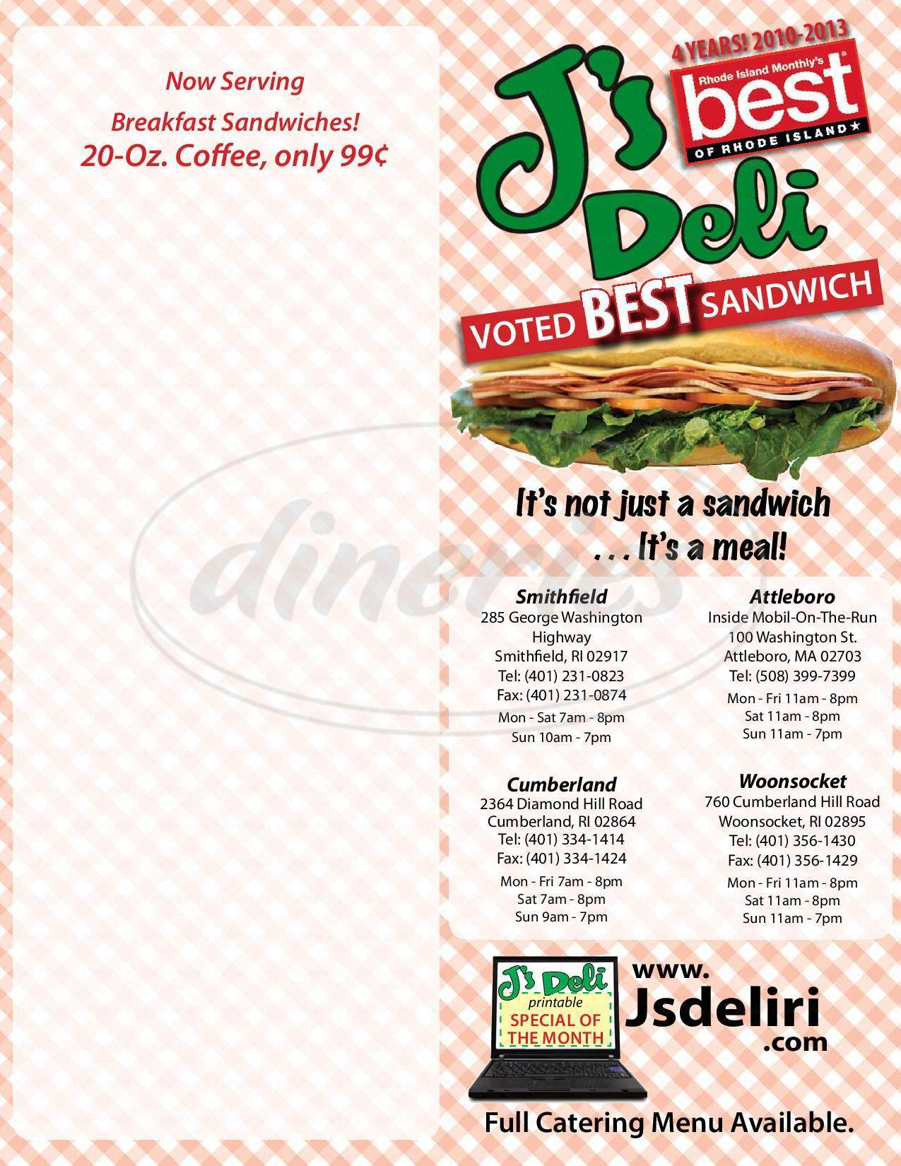 menu for J's Deli