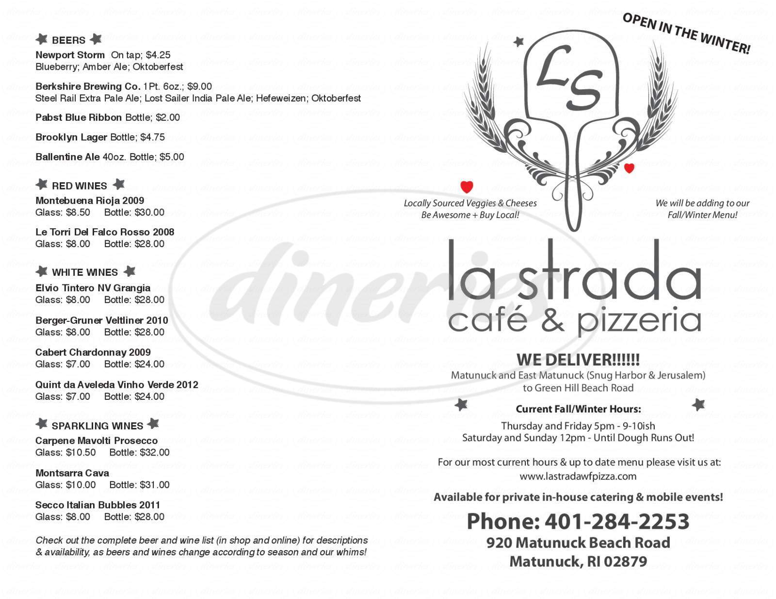 menu for La Strada Café & Pizzeria