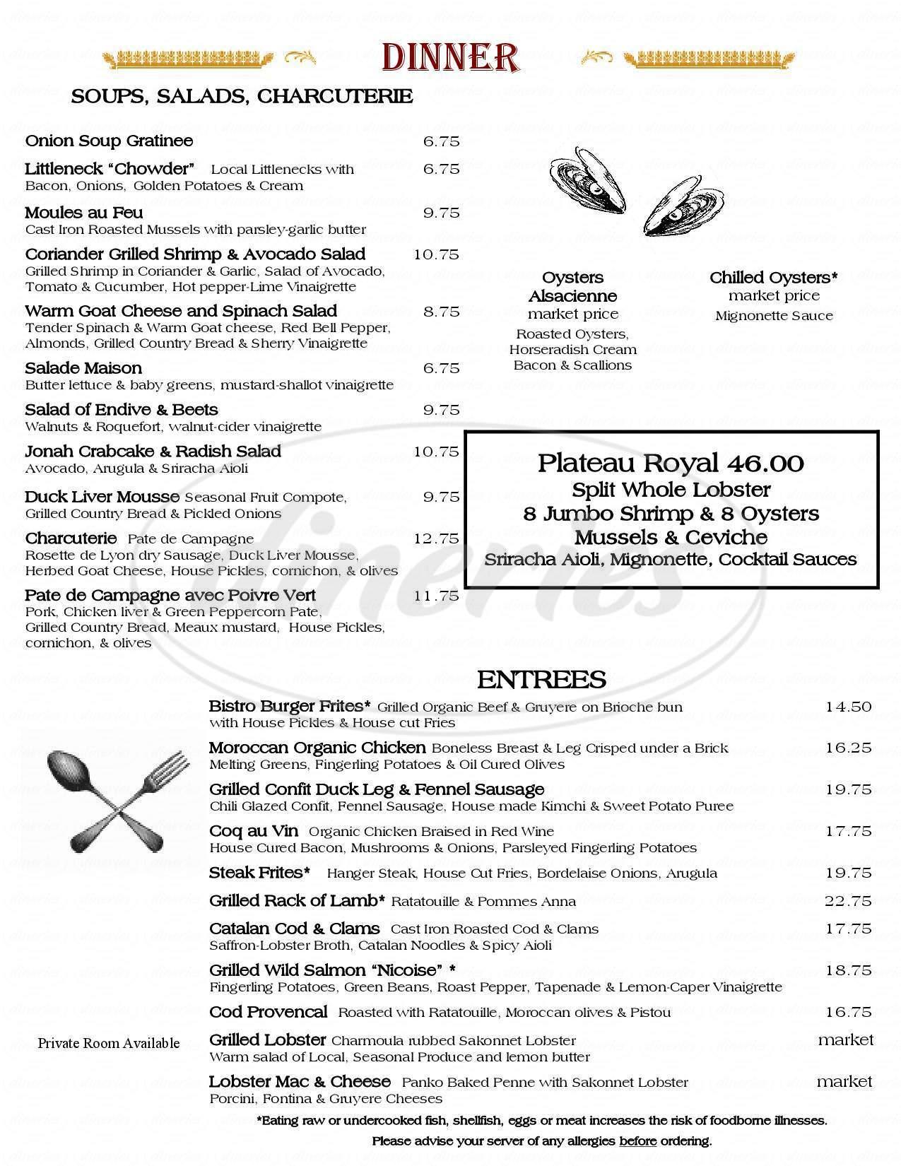 menu for Le Central