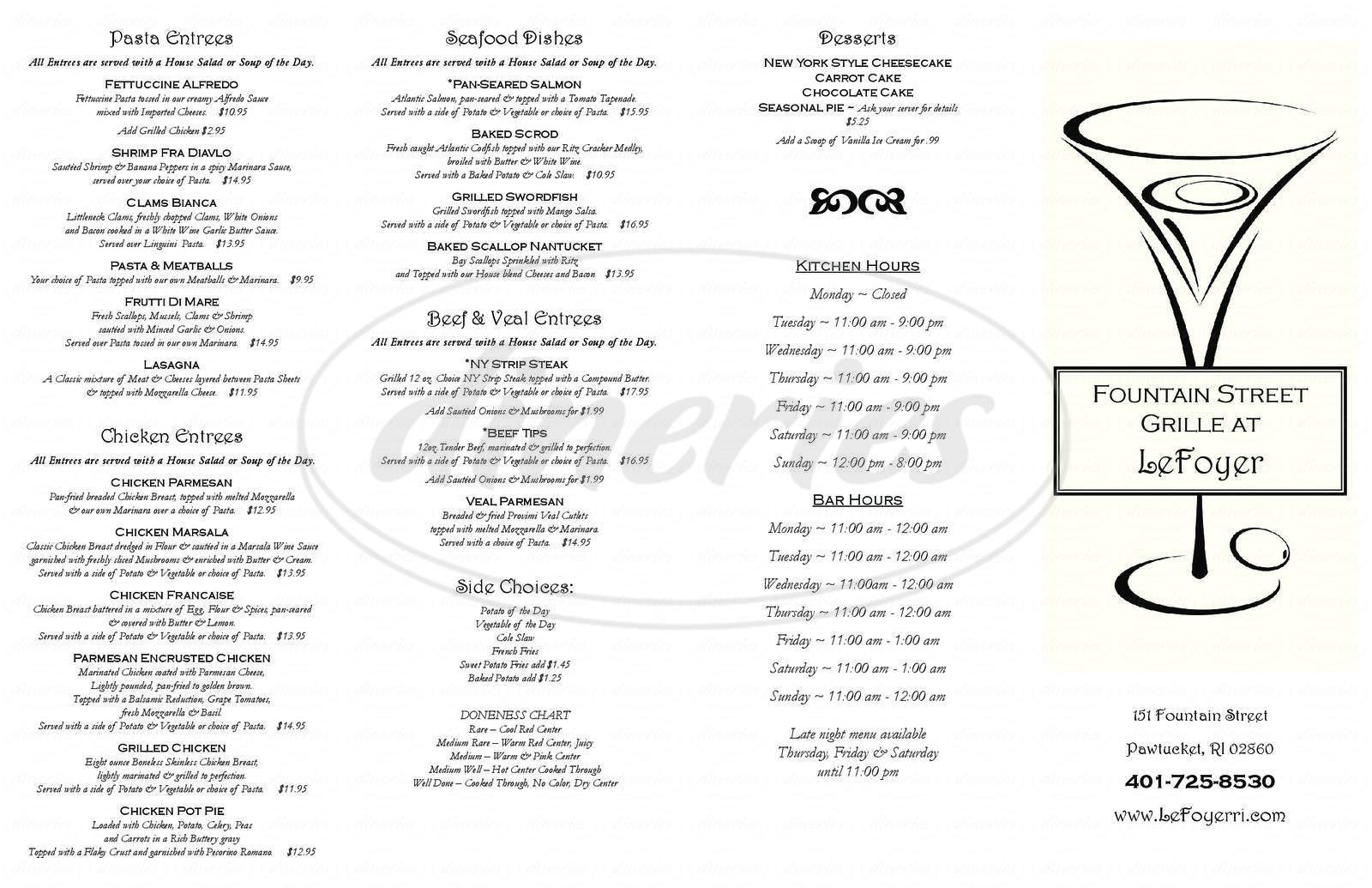 menu for Fountain Street Grille at LeFoyer
