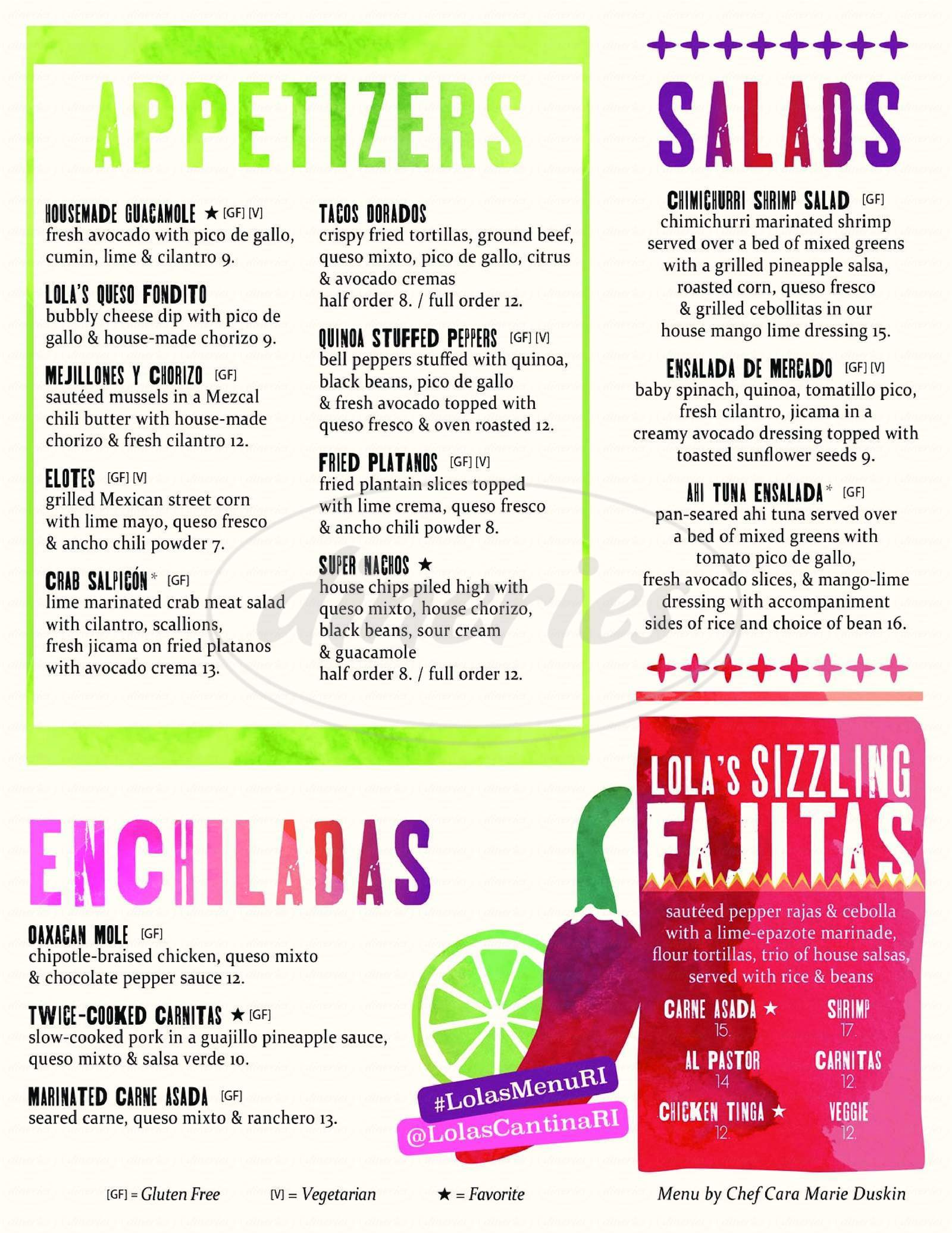 menu for Lola's Tequila Bar & Cantina