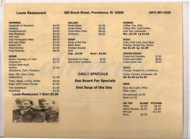 menu for Loui's Restaurant