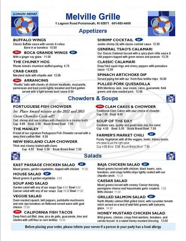 menu for Melville Grille