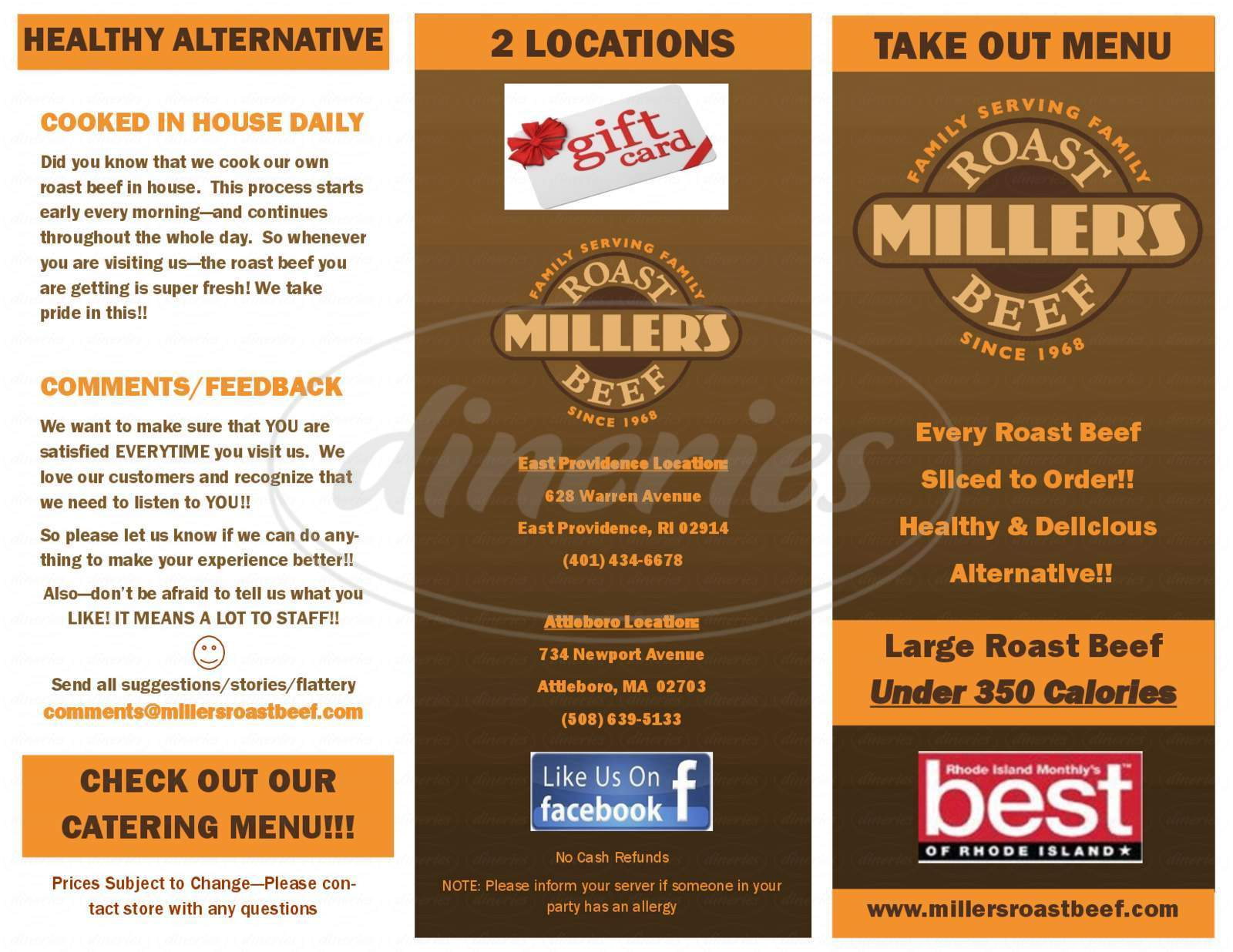 menu for Miller's Roast Beef