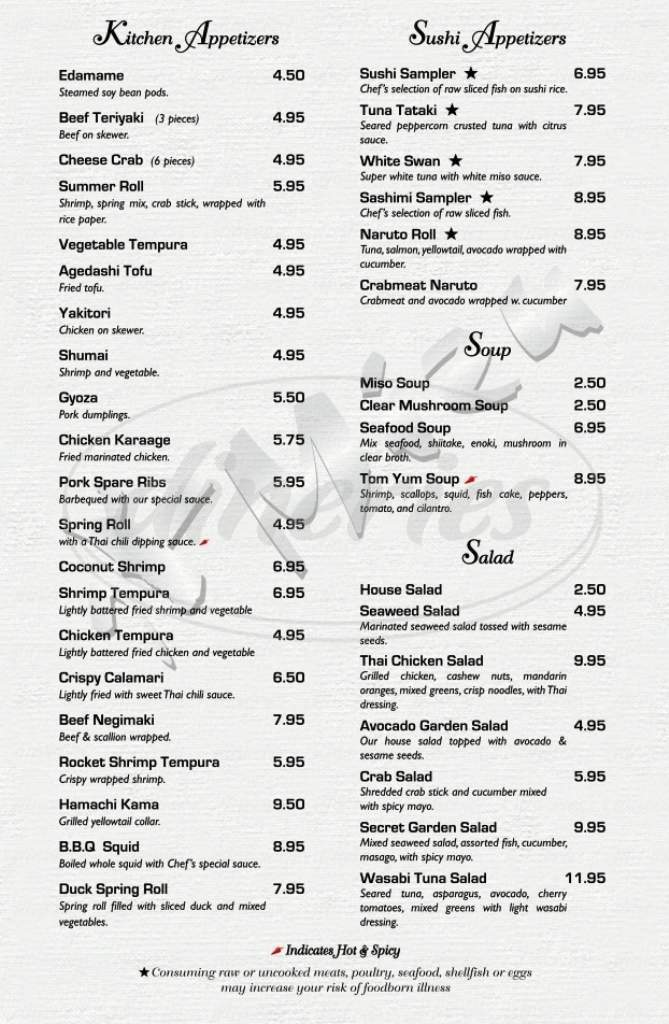 menu for Mizu Japanese Sushi and Steakhouse