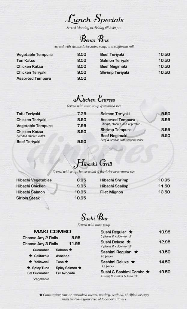 menu for Mizu Japanese Sushi and Steakhouse