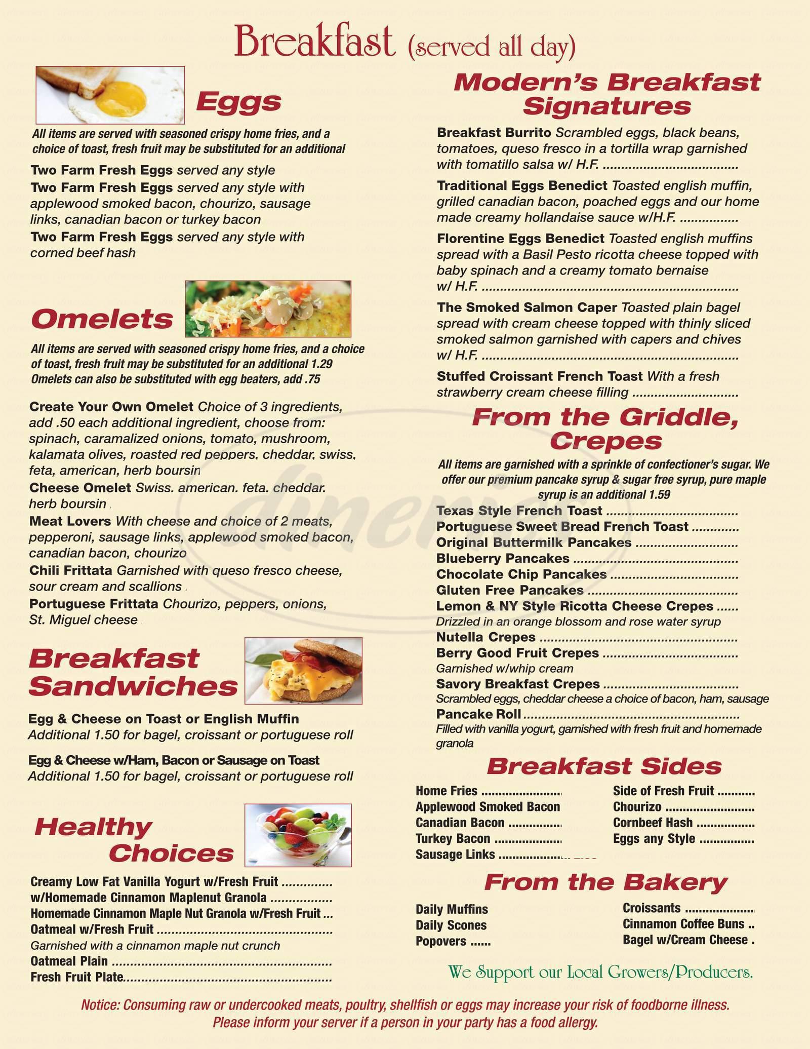 menu for Modern Bistro