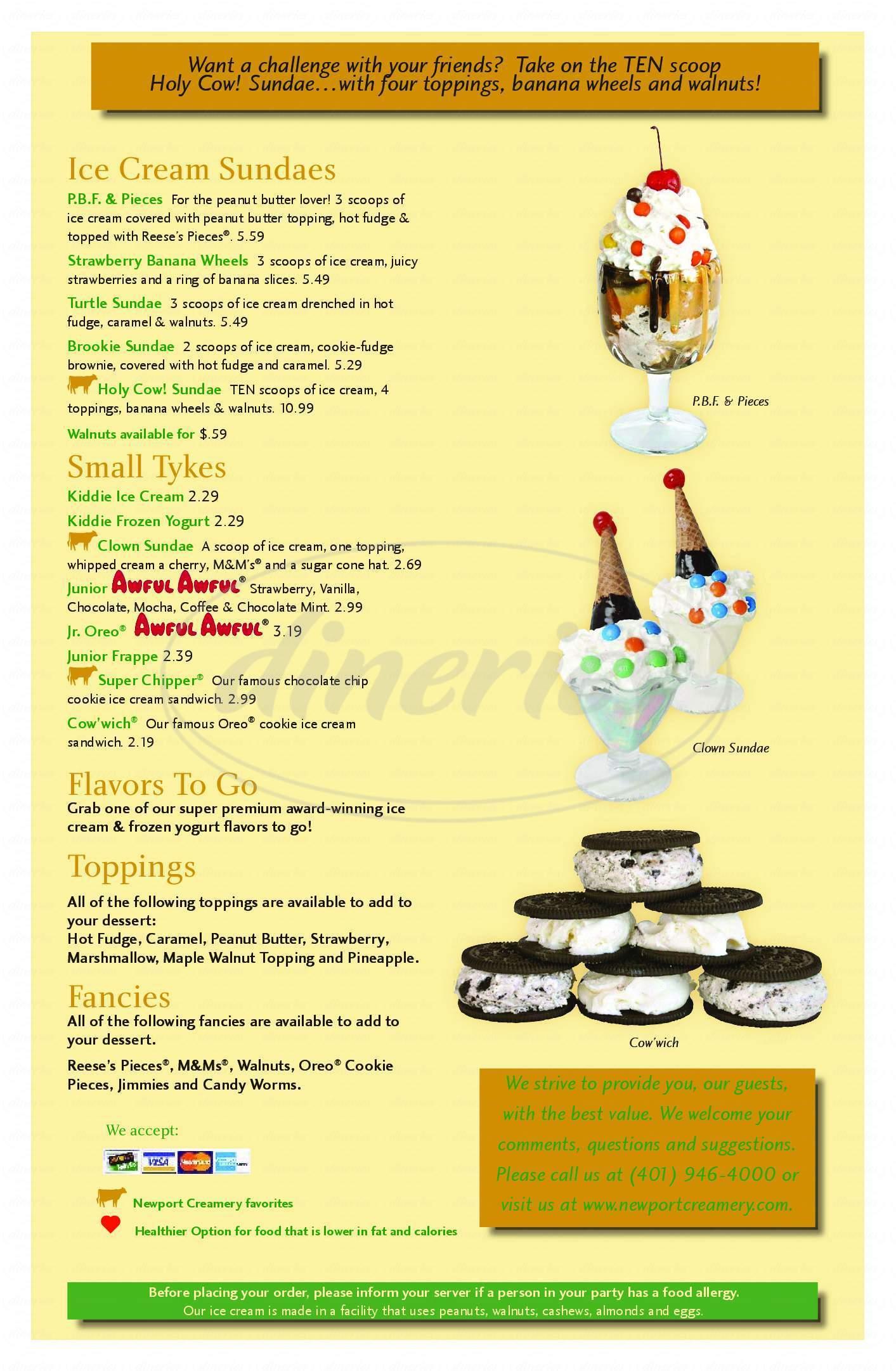 menu for Newport Creamery Ice Cream & Sandwich Shoppes