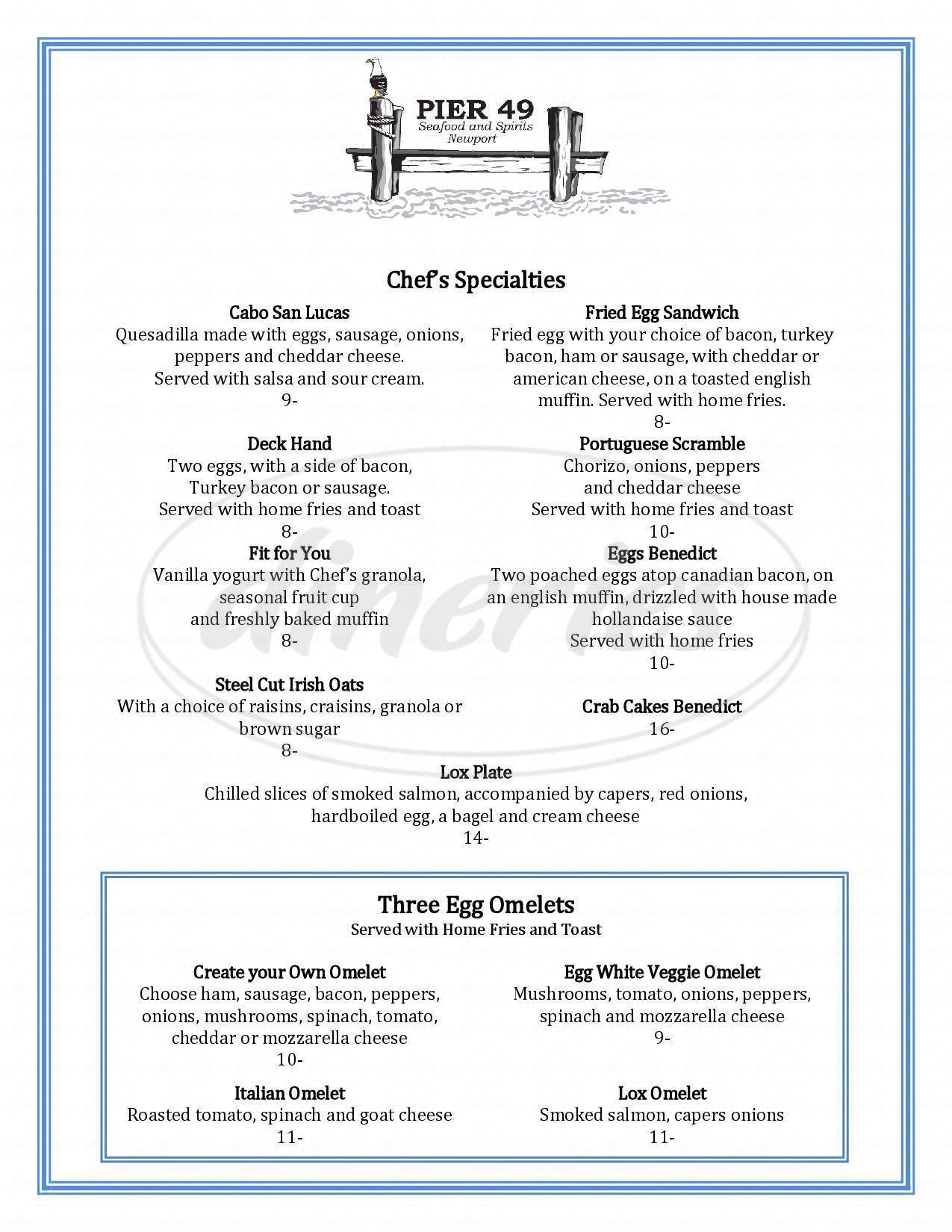 menu for Pier 49 Seafood and Spirits