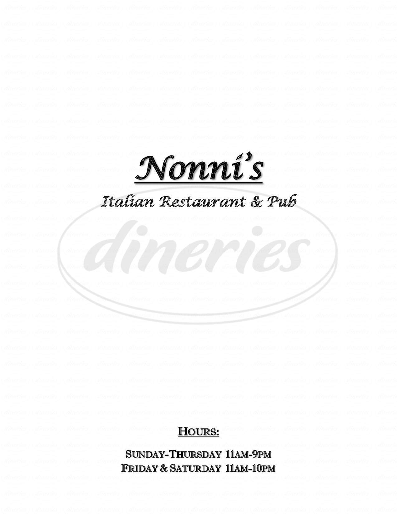 menu for Nonni's Kitchen and Pasta Shop