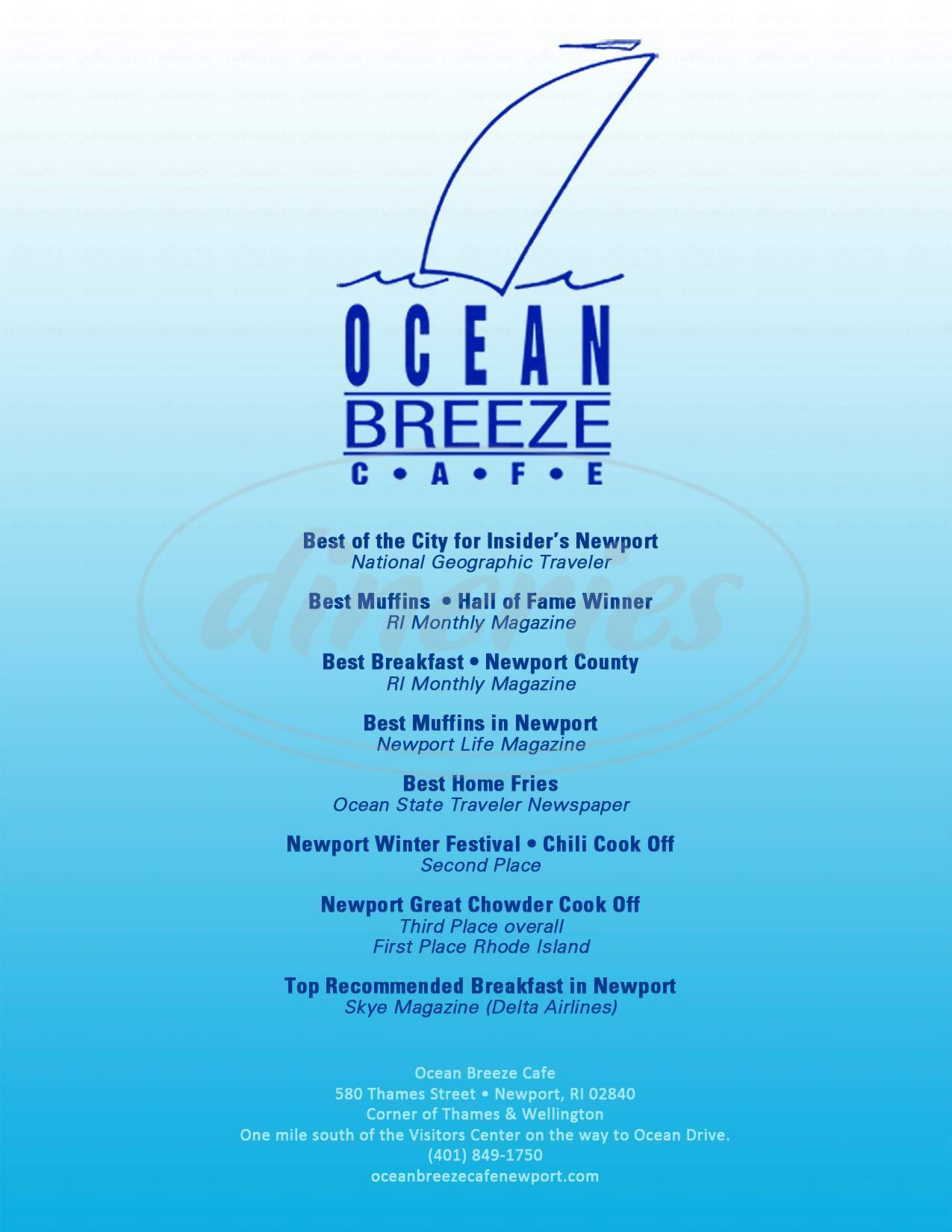 menu for Ocean Breeze Cafe